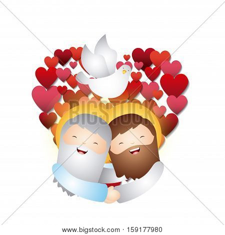cartoon jesus man and god with white dove over red heart and white background. vector illustration