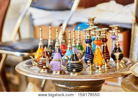 Selection Of Traditional Bottle For Perfumes On Moroccan Market