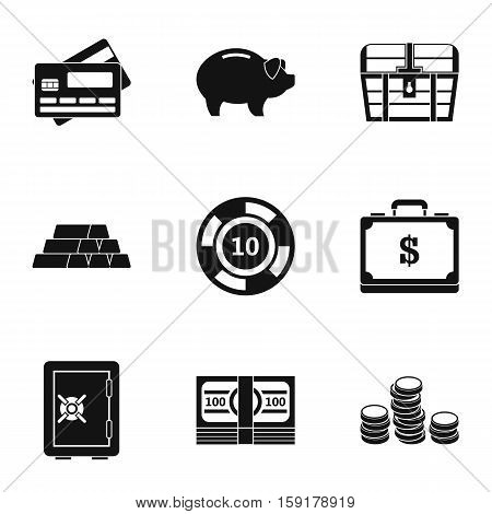 Finance icons set. Simple illustration of 9 finance vector icons for web