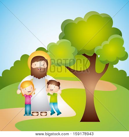 cartoon jesus man with kids in the park. colorful design. vector illustration