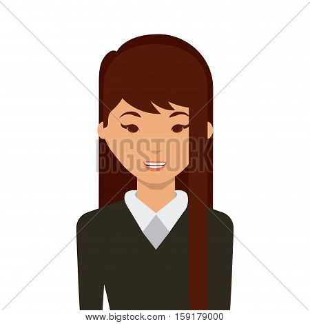 cartoon woman smiing wearing casual clothes over white background. colorful design. vector illustration