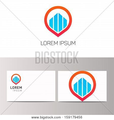 Abstract building brand financial icon label. Development logo vector construction sign