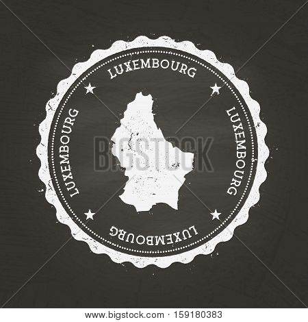 White Chalk Texture Rubber Stamp With Grand Duchy Of Luxembourg Map On A School Blackboard. Grunge R