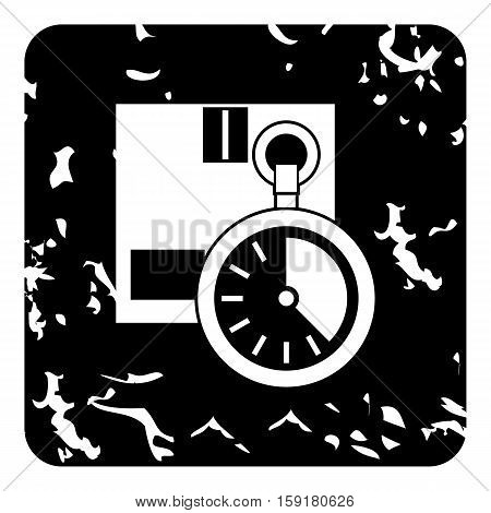 Stopwatch icon. Grunge illustration of stopwatch vector icon for web