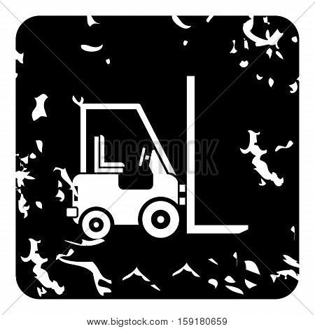 Forklift icon. Grunge illustration of forklift vector icon for web