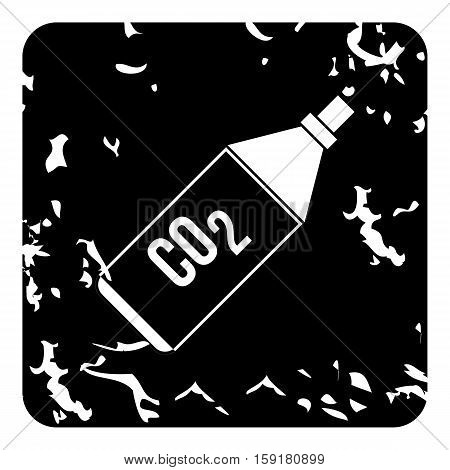 Bottle with CO2 gas icon. Grunge illustration of bottle with CO2 gas vector icon for web