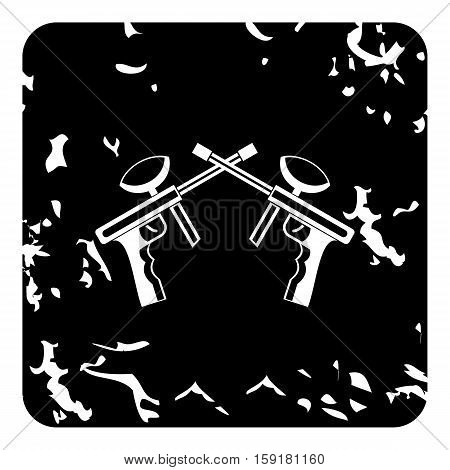 Two paintball gun icon. Grunge illustration of two paintball gun vector icon for web