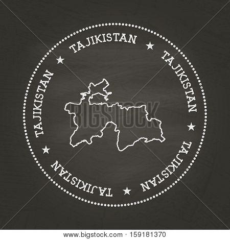 White Chalk Texture Vintage Seal With Republic Of Tajikistan Map On A School Blackboard. Grunge Rubb