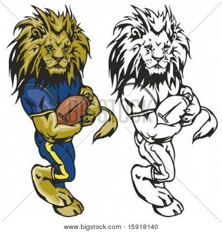 Lion-Fußball-Maskottchen. Ideal für T-shirt Designs, Maskottchen Schullogo und anderen Design arbeiten. Bereit