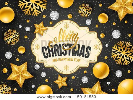 Christmas greeting card with type design and golden decorations on the black background. Vector illustration.