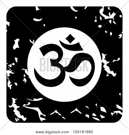 Om sign icon. Grunge illustration of om sign vector icon for web