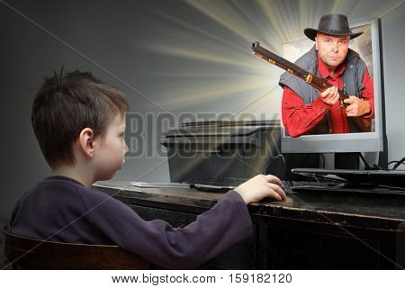 Little boy looking at screen with three dimensional movie. Real american hero from western in everyone living room. Online games and 3d cinema technology theme.