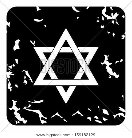 Star of David icon. Grunge illustration of star of David vector icon for web