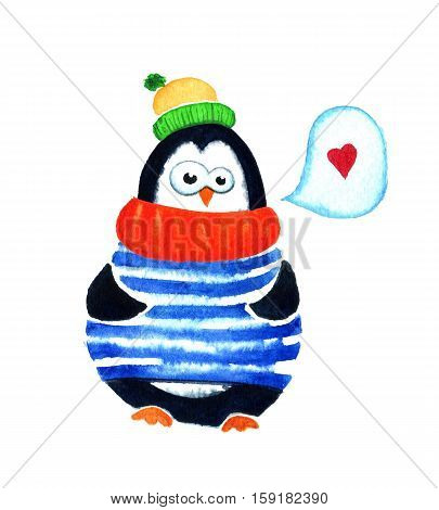 Cute Penguin Dreams About Love. Cartoon Babies And Little Kids. Watercolor Illustration Isolated On