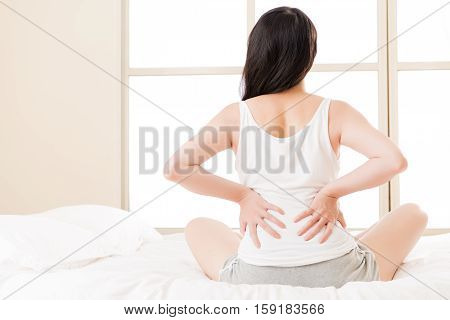 Asian Woman Suffers Back Pain Backache, Spinal Lower Problem