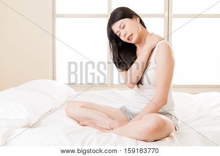 Beautiful Asian Woman Suffering Shoulder Neck Ache Pain Tired