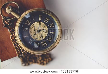 Pocket Watch with the Chain on the Box Wood with Blank Space