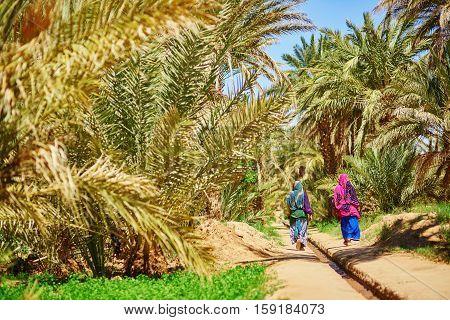 Two Berber Women In Oasis Of Merzouga Village In Sahara Desert, Morocco