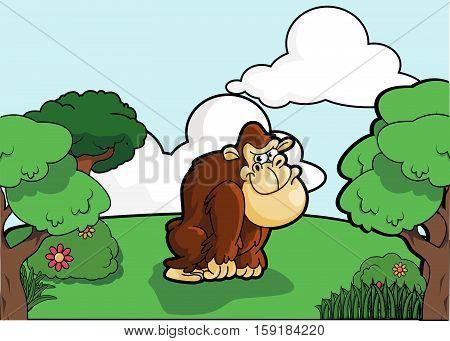 Gorilla and Forest scenery vector illustration design eps 10
