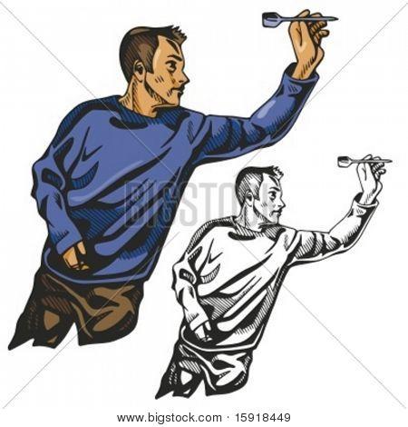 Dart player. Vector illustration