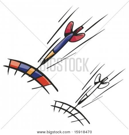 A dart flying toward a board. Vector illustration