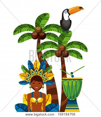 brazilian dancer with drum instrument and toucan bird. icons of brazilian culture over white background. vector illustration
