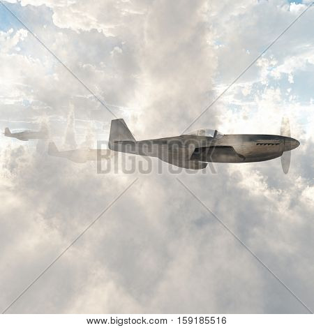 Warplanes in the clouds   3D Render
