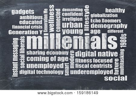 millenials word cloud on a vintage blackboard isolated on white - demography concept