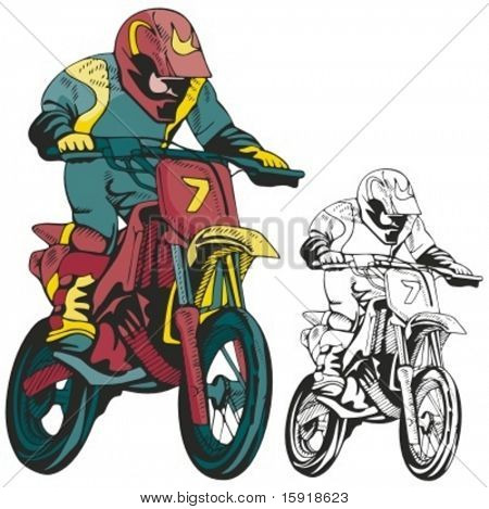 Motocross racer. Vector illustration