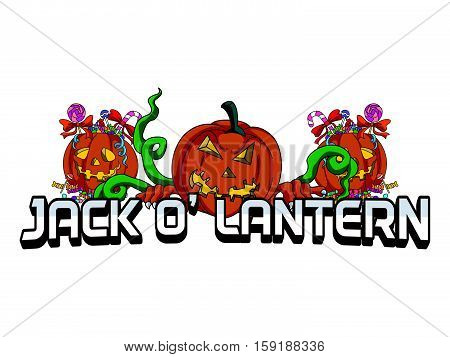 jack o lantern banner vector illustration design eps 10