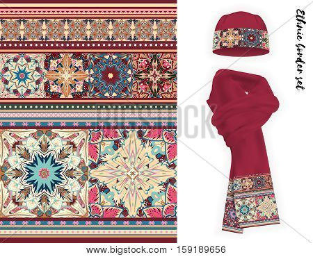 Vector ethnic border set. Pastel pink beige blue colors mandala flowers pattern. Floral decorative border on vinous warm knitted cap and scarf mock up.