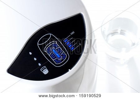 closeup filter indicator (Blue LED) of water purifier