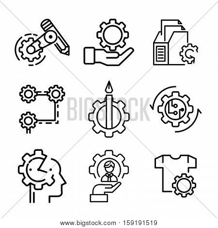 office gear icon set vector illustration design eps 10