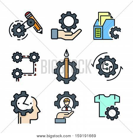 office gear icon set color vector illustration design eps 10