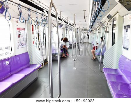 Bangkok-Thailand Oct 1 2016: MRT Chalong Ratchadham Line or MRT Purple Line. Skytrain extension from Tao-Poon to Khlong-Bang-Phai to help people in Bangkok and its vicinity travel faster.