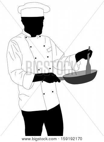 chef preparing food in frying pan silhouette - vector