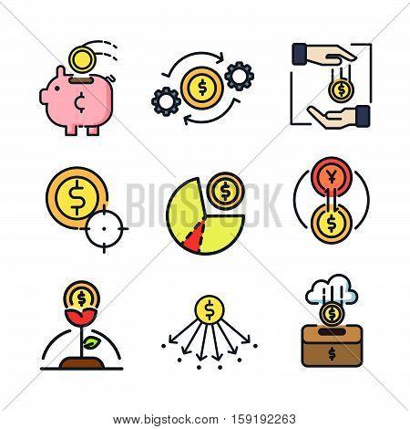 coin icon set color vector illustration design eps 10