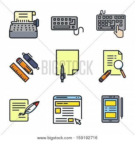 writing media icon set color vector illustration design eps 10