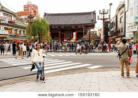 Woman Selfie In Front Of Sensoji Temple Asakusa In Cloudy Day
