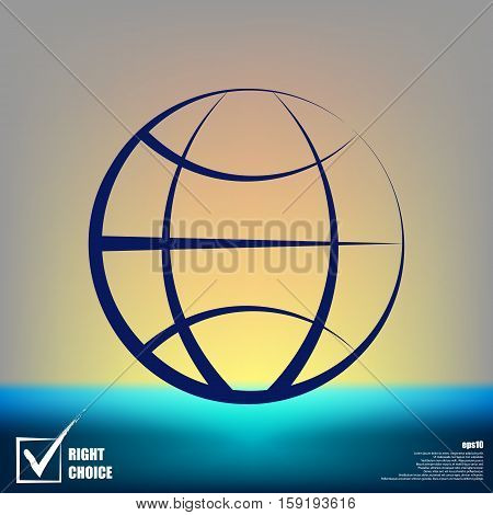 Flat Paper Cut Style Icon Of Globe