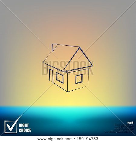 Flat Paper Cut Style Icon Of House Model