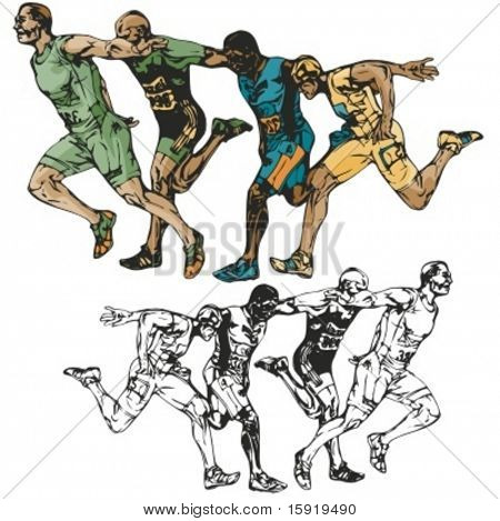 Sprinters vector illustration.