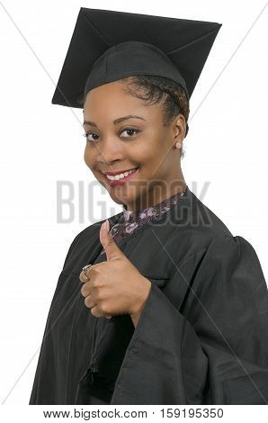 Young black african American woman in her graduation robes