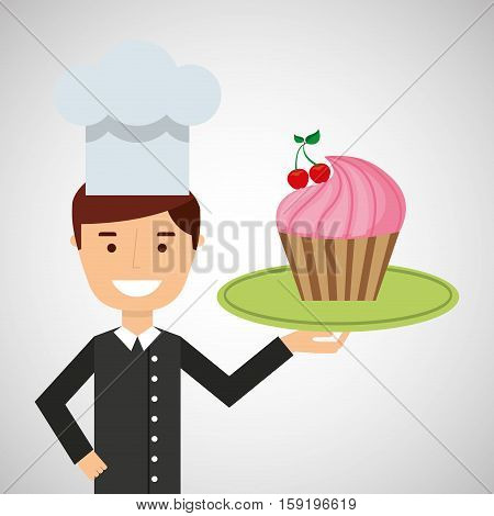 cartoon chef dessert cupcake cherry vector illustration eps 10