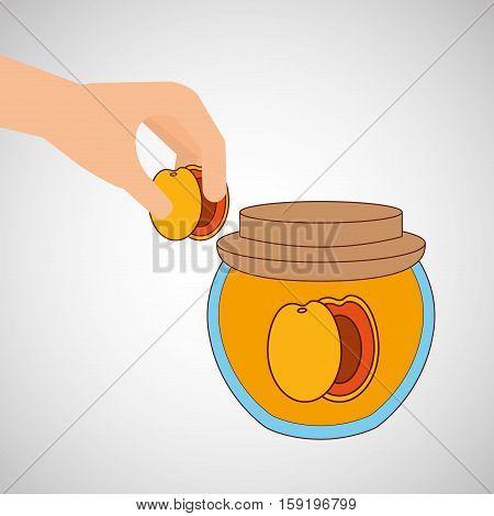 hand puts apricot jar jam vector illustration eps 10