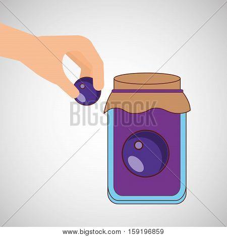 hand puts plum jar jam vector illustration eps 10