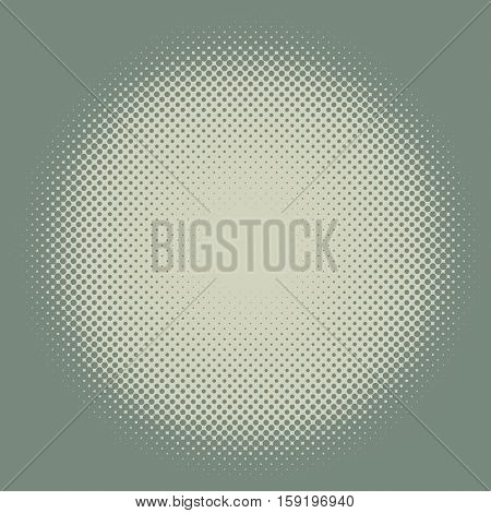 Yellow and green vintage colored halftone round frame vector background.