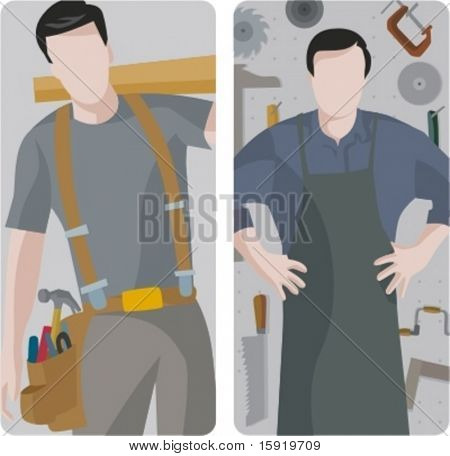 A set of 2 vector illustrations of carpenters. 1) Carpenter holding a wooden plank. 2) Carpenter in a workshop.