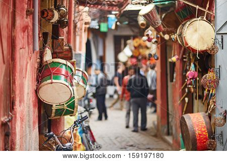 Selection Of Drums On Moroccan Market