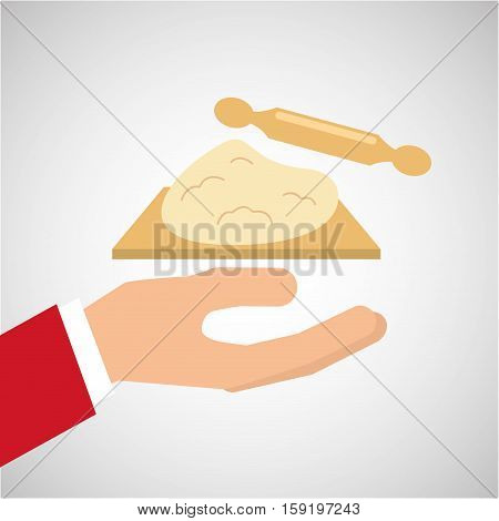 bakery cooking hand dough rolling pin vector illustration eps 10